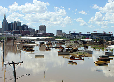 Flooding in downtown Nashville, Tennessee in May 2010. Photo taken by Kaldari on May 3, 2010.