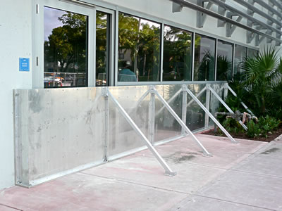 Flood Panel flood barrier system installed at the Miami Beach Multi-Purpose Parking Garage, Miami Beach, FL.