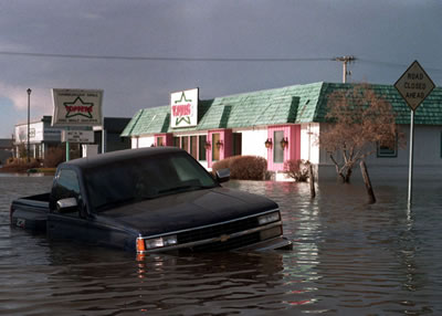 A partially submerged truck in front of the former Toppers restaurant in Grand Forks, North Dakota a few weeks after the 1997 Red River Flood.